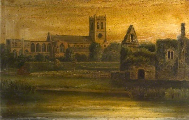 A View of Christchurch Priory, Constable's House across the Mill Stream, Dorset
