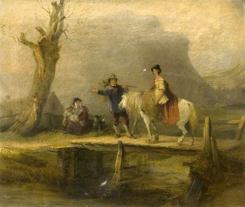 Woman on Horseback Crossing a Bridge