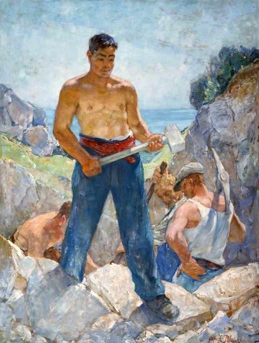 Men Working in Cliff Quarry