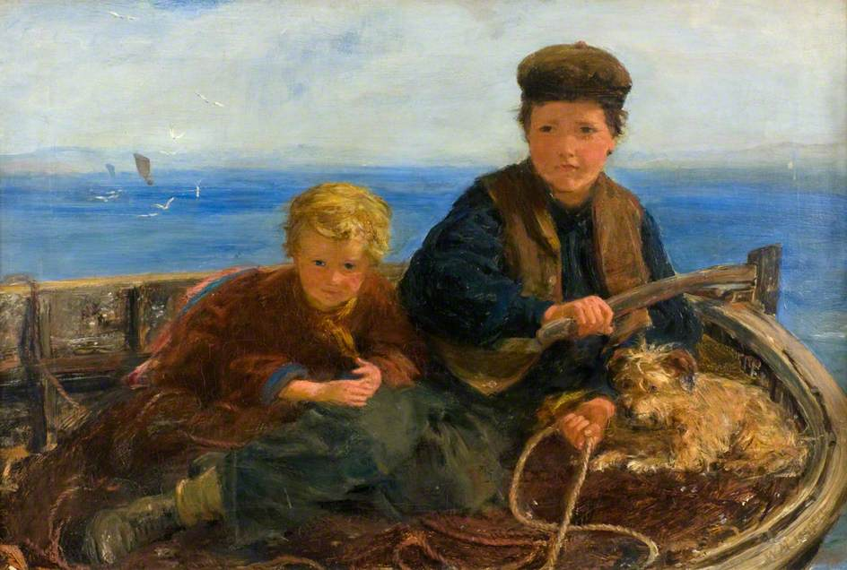 Two Boys and a Dog in a Boat
