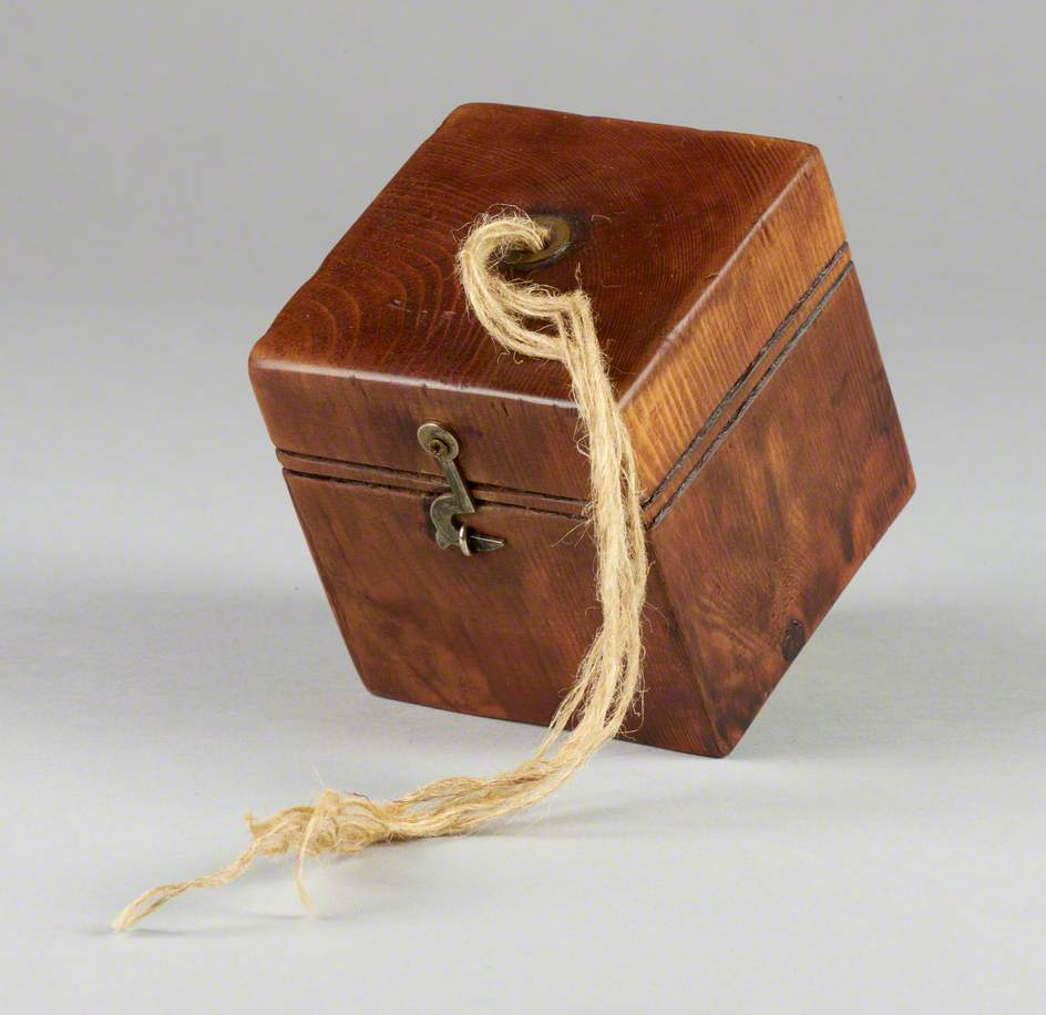 121 Linked Cubes: Cube, Stained, with Brass Fittings to Look Like 'Jute Box'