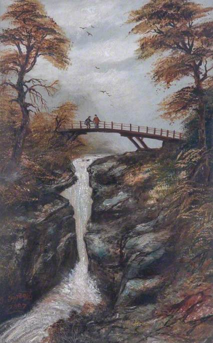 Figures on a Bridge above a Waterfall
