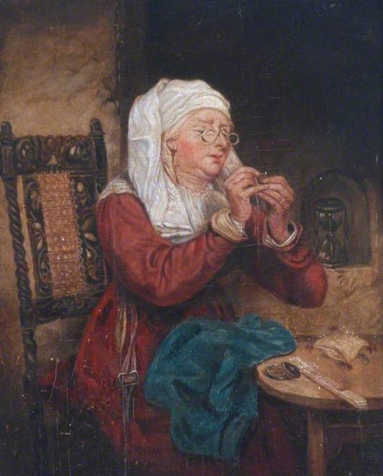 Woman Threading a Needle