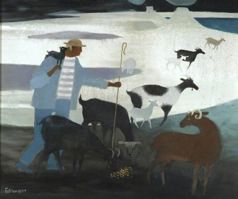 Goatherd with Goats