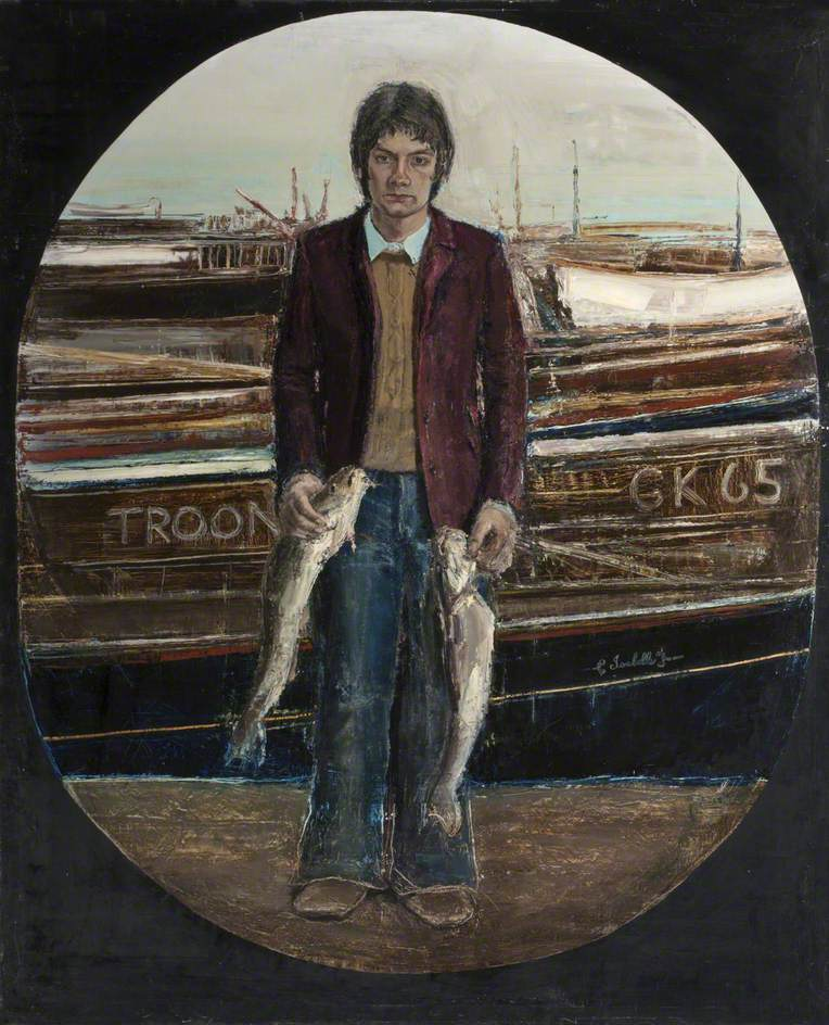 Portrait of Boy with Two Fish