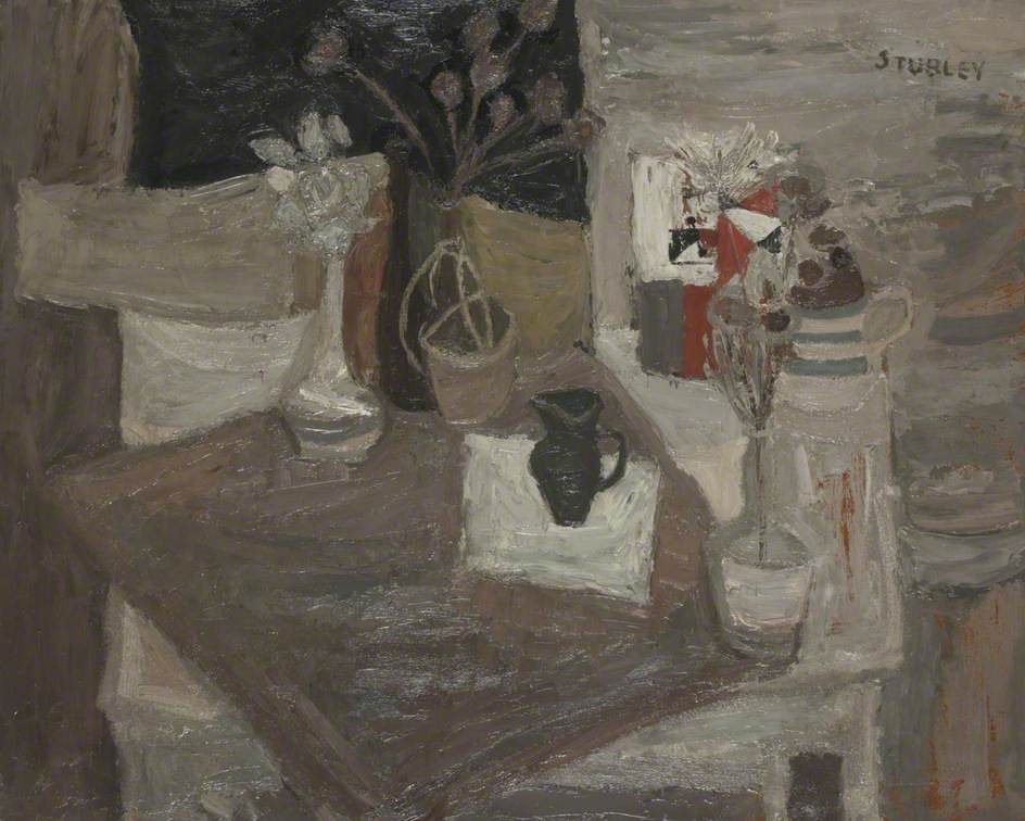 Still Life with Vases and Dried Flowers