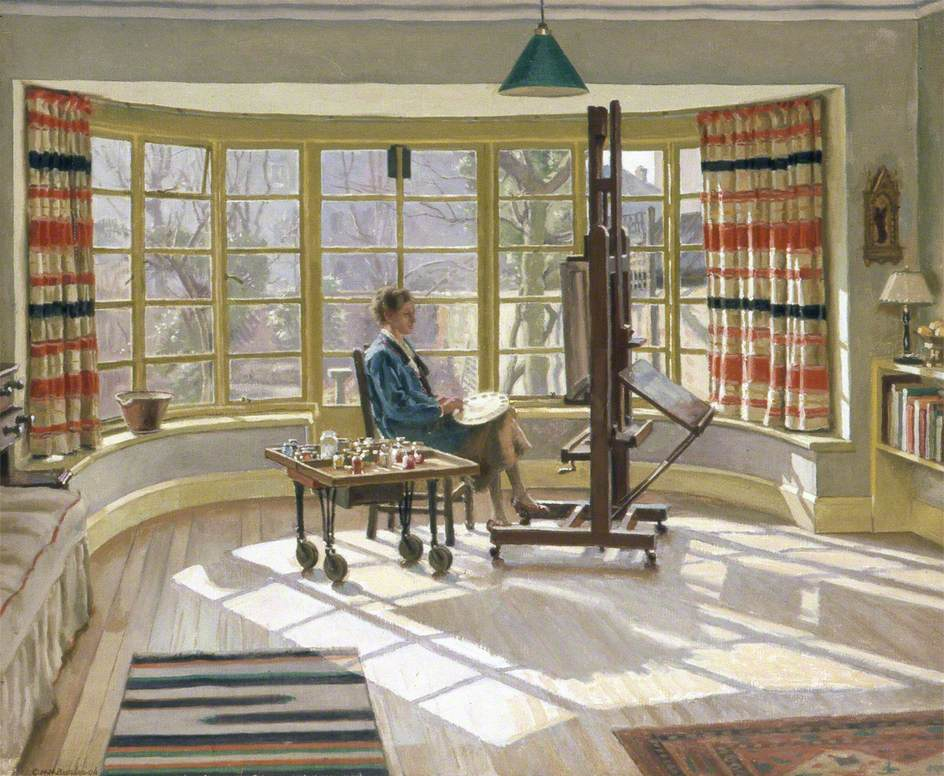 Averil Burleigh (1883–1949), Painting at 7, Wilbury Crescent