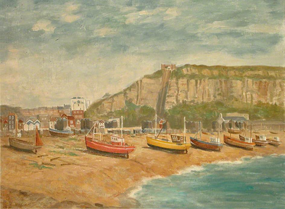 East Hill, Hastings, East Sussex, from Harbour Arm