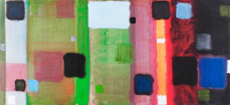 Horizontal Painting with Soft Black Squares