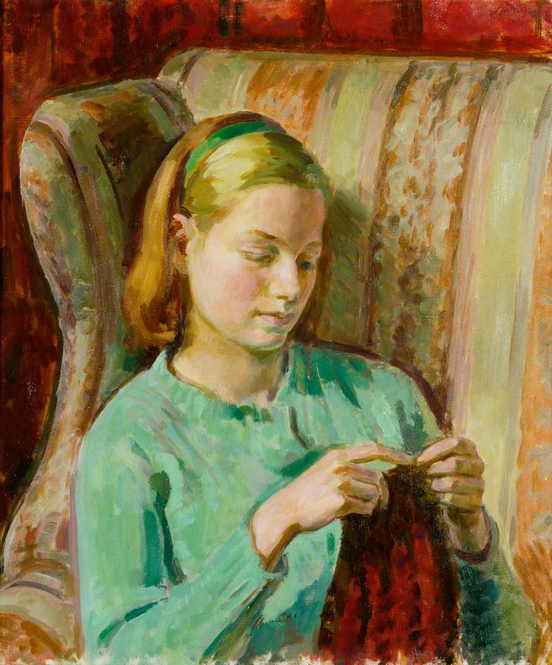 Girl Knitting, Portrait of Felicia, the Artist's Younger Daughter