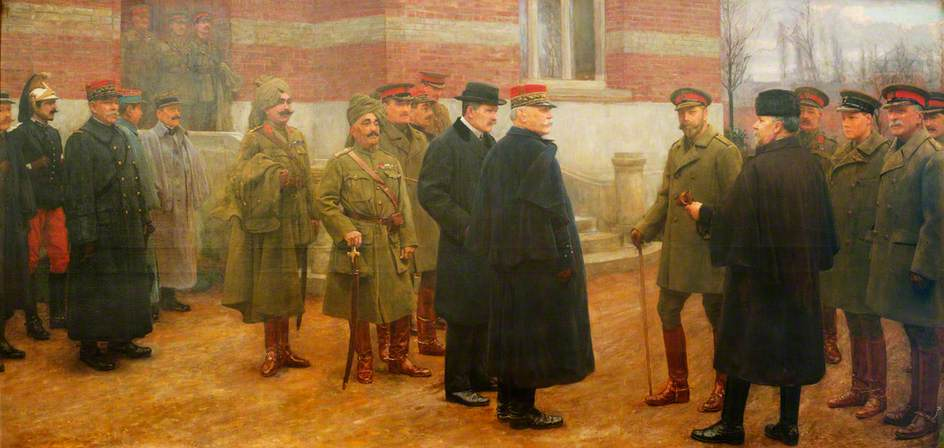 Merville, 1 December 1914, the Meeting of George V and President Poincaré of France at the British Headquarters at Merville, France, on 1 December 1914