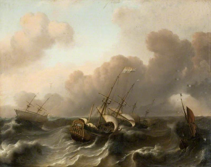 A Dutch Flagship and Other Vessels Running before a Gale
