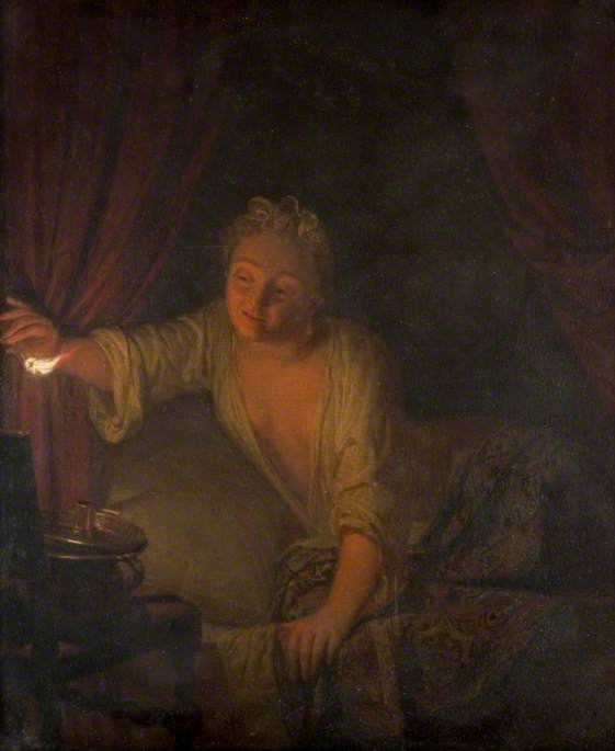 A Woman in Bed Extinguishing a Candle