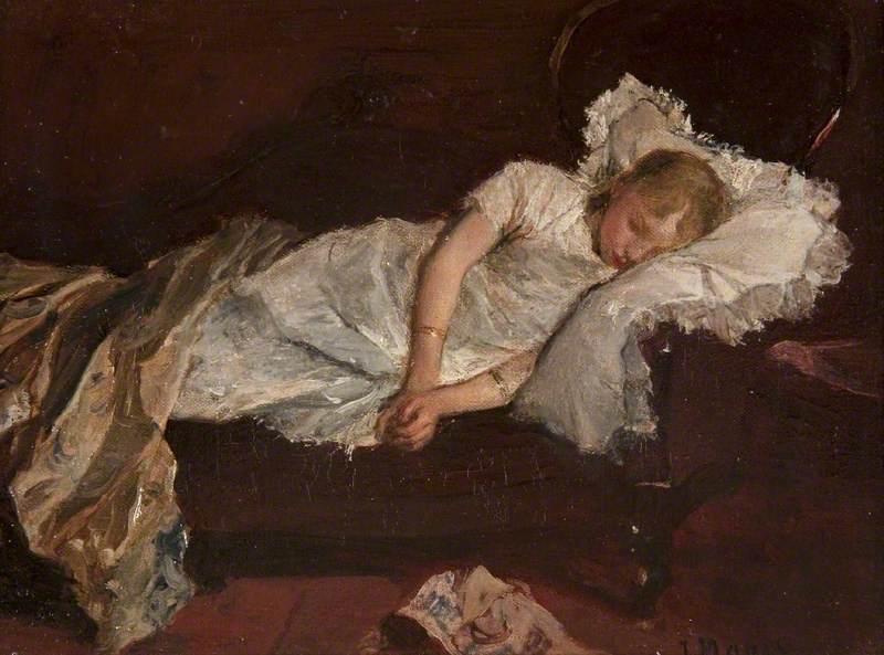 A Girl Asleep on a Sofa