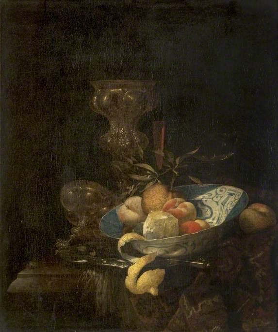Still Life: Silver-Gilt Goblet, Porcelain Bowl, Glassware and Peeled Orange