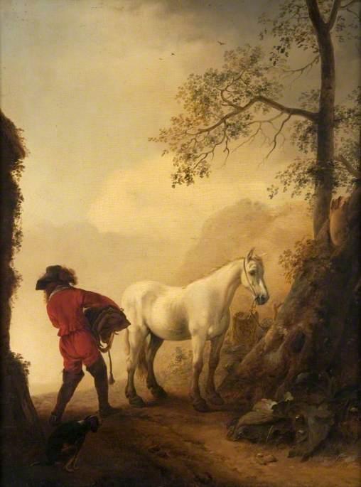 A Man Saddling a Tethered Horse