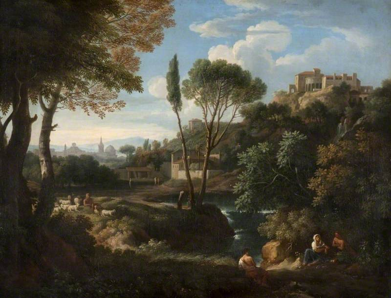Landscape with a Waterfall and Buildings
