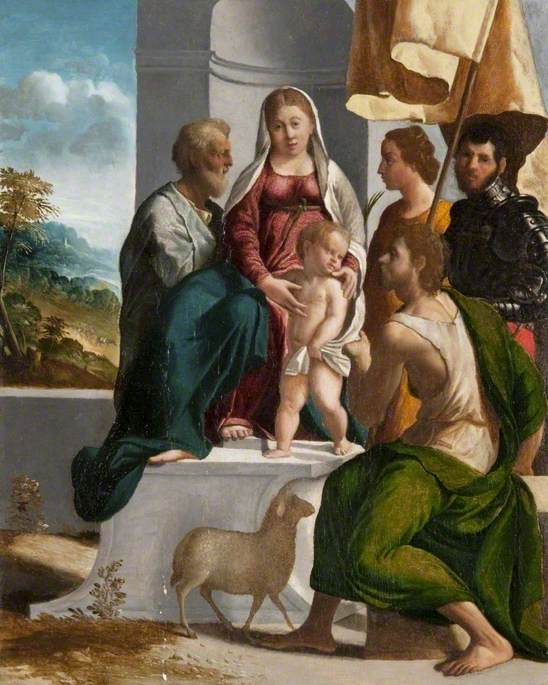 The Holy Family with a Virgin Martyr, Saint John the Baptist and Saint George (?)