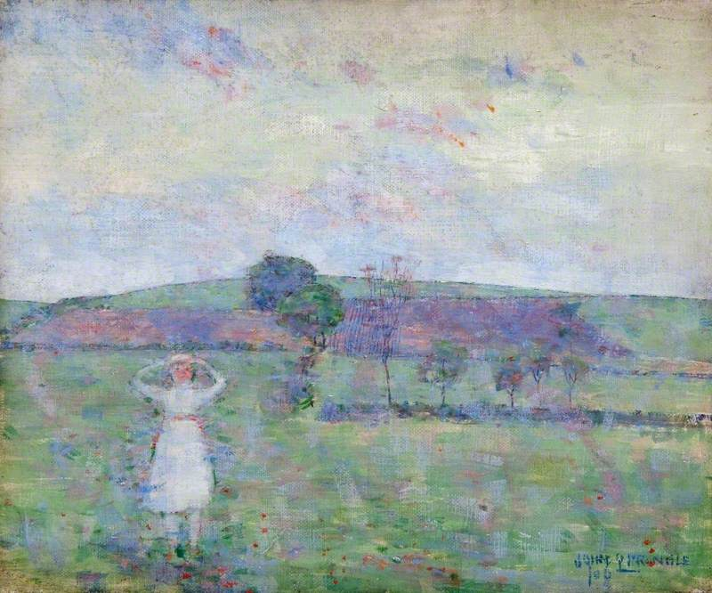 Landscape with Trees and a Girl in White