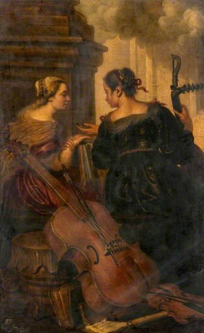 Two Seated Women with Musical Instruments