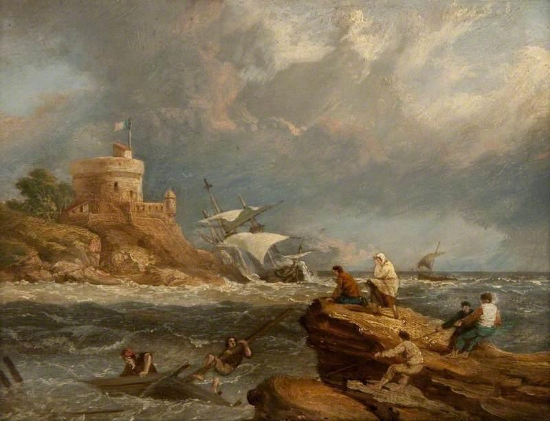Rocky Seascape with a Shipwreck