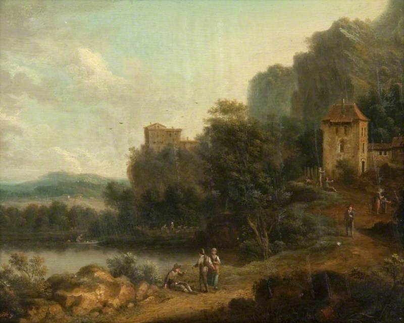 Landscape with Buildings and Figures beside a Lake