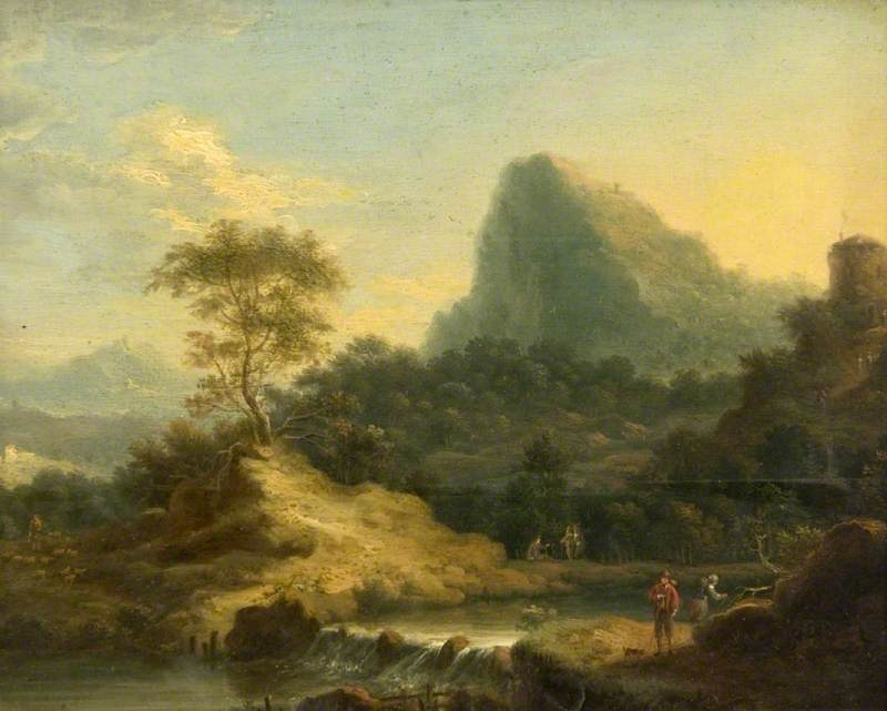 A Mountain Landscape with a Waterfall