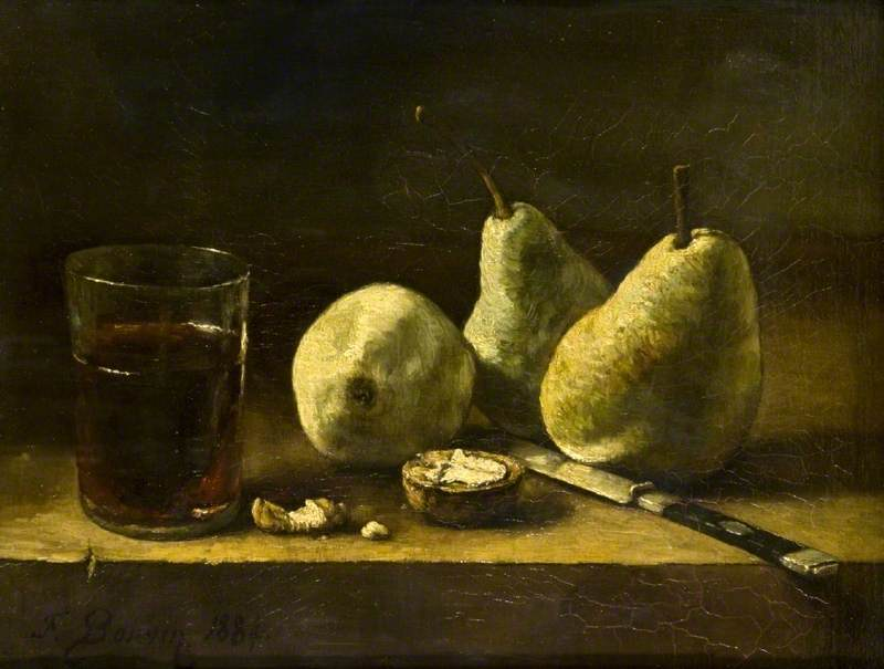 Still Life with a Glass, Pears and a Knife