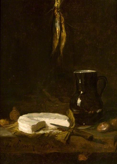 Still Life with a Jug, Cheese, Onions, Fish and a Knife