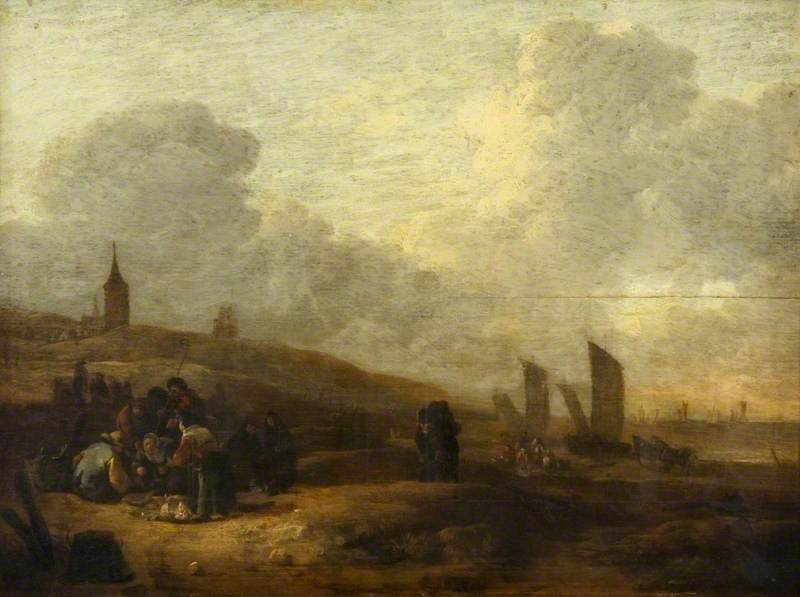 Beach Scene, Scheveningen, The Netherlands, with a Fish Auction