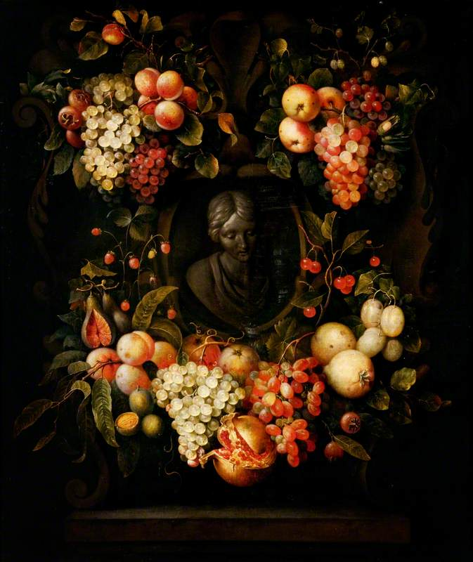 A Garland of Fruit around the Sculpted Bust of a Girl