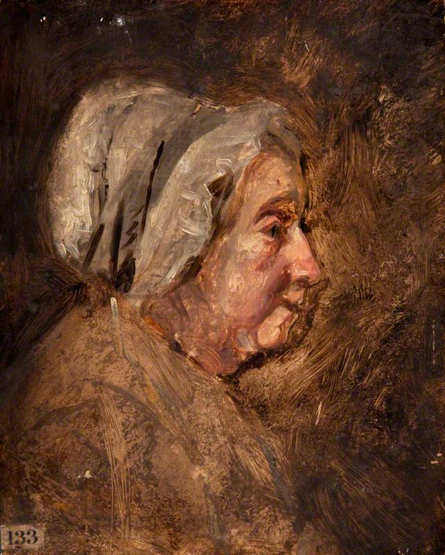 Head of an Old Woman with a Cap, in Profile to the Right