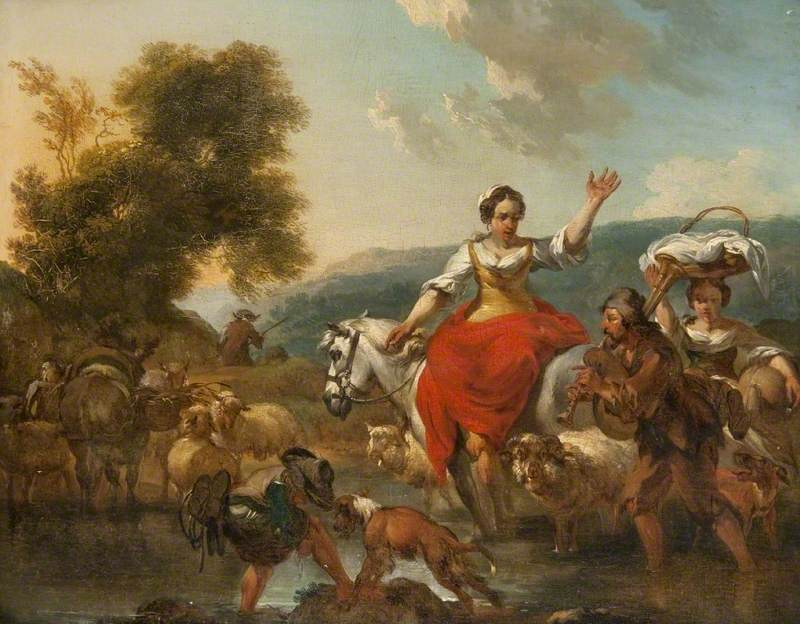 Peasants and Animals Crossing a Ford