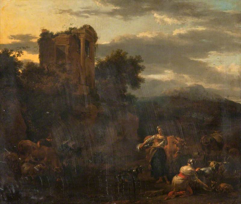 Landscape with a Ruined Temple, Peasants and Cattle