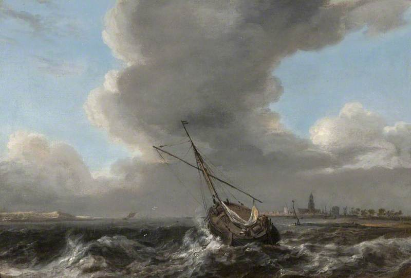 A Small Dutch Vessel at Anchor off the Coast in a Rough Sea