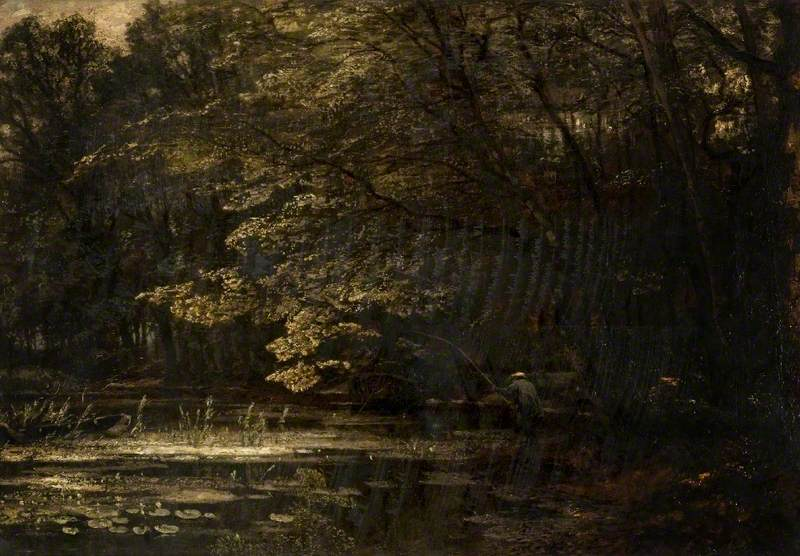 An Angler by a Woodland Pond