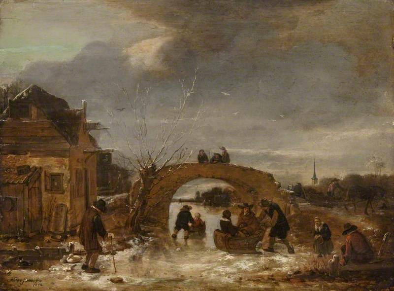 Figures on a Frozen Canal
