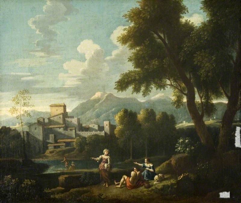 Landscape with a Building and Distant Mountains