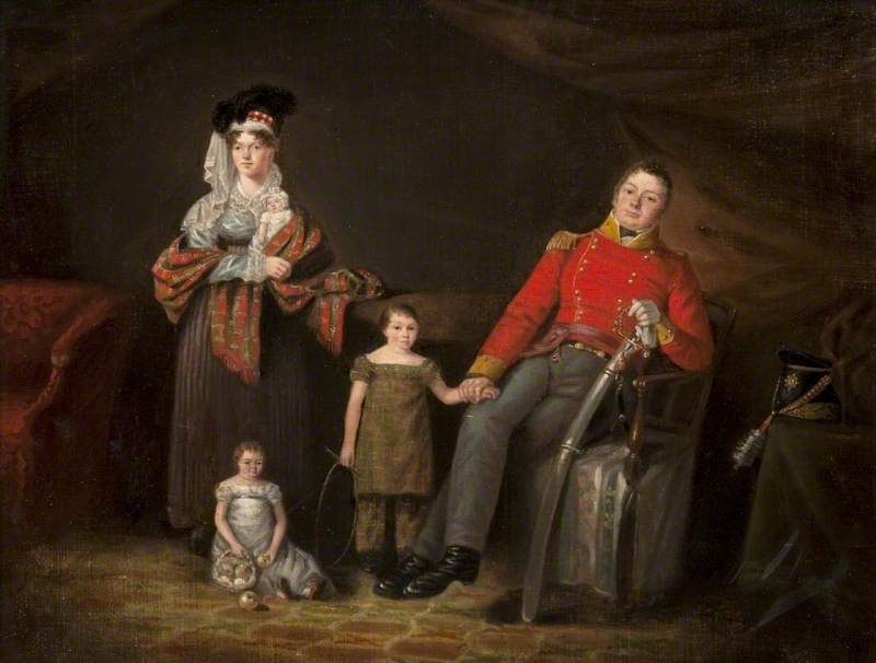 A Soldier with His Family