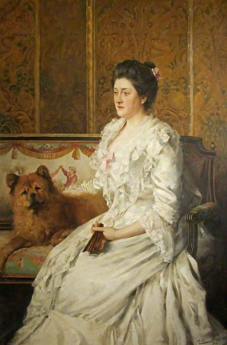 Lady Florence Antrobus (1856–1923), with a Chow