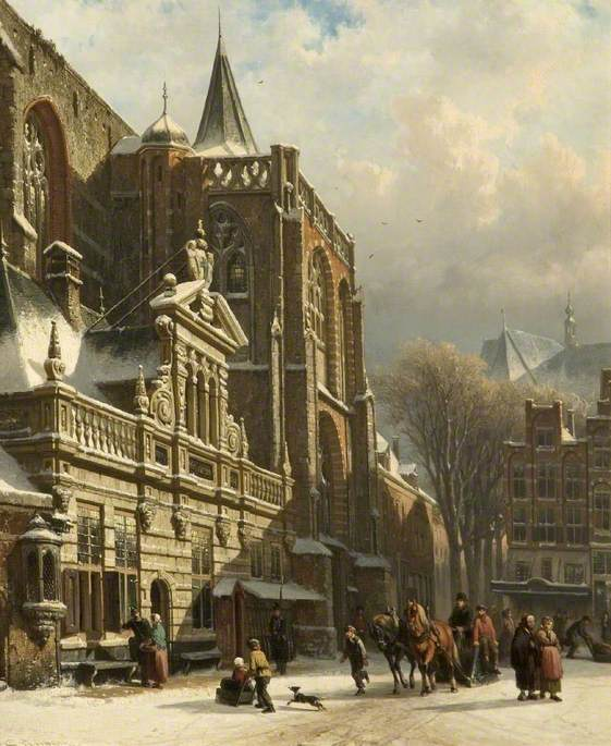 View of the Hoofdwacht and the Grote Kerk, Zwolle, The Netherlands