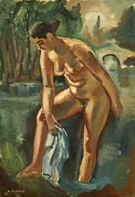 Nude Bathing in a River
