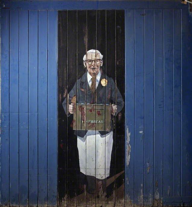Mr Allan Whittern's Portrait on the Back Door of His Grocer's Shop