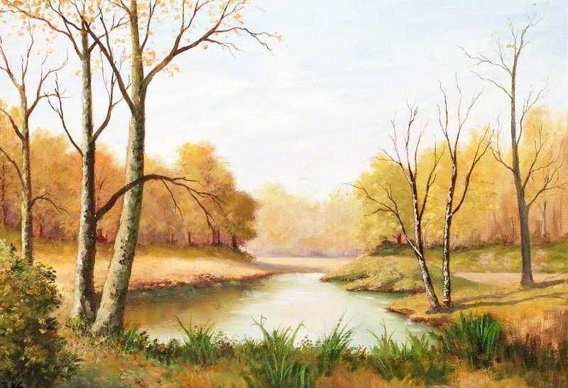 Autumn Scene with a Pond