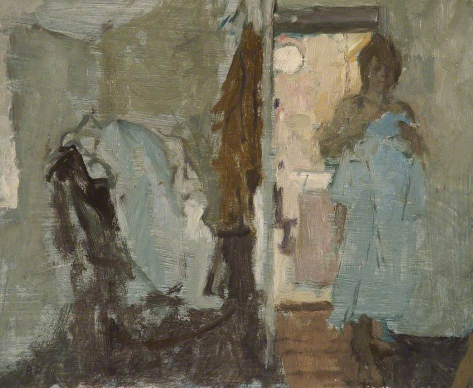 Girl Holding a Blue Nightdress