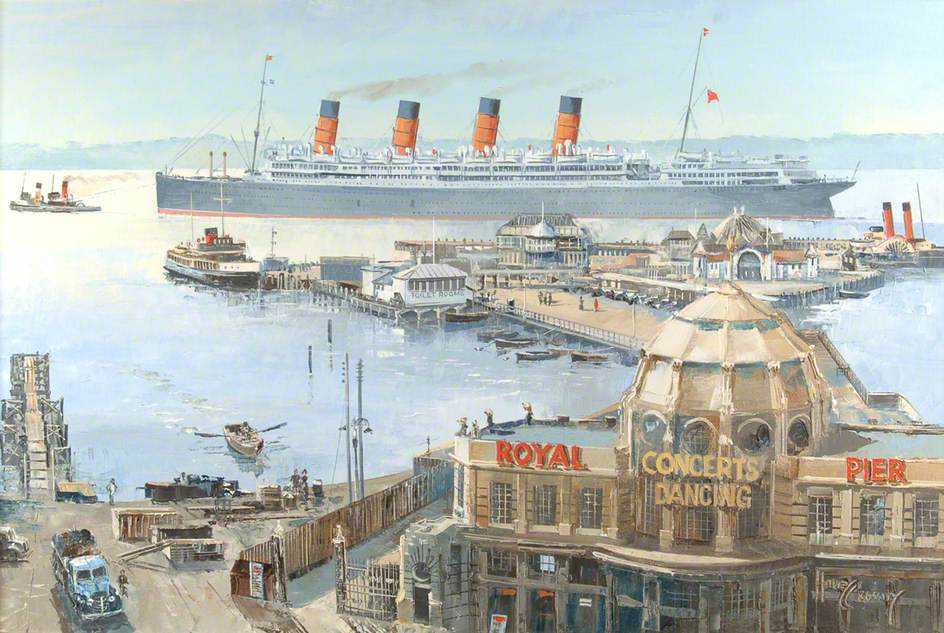 Cunard White Star RMS 'Aquitania', Leaving Royal Pier, Southampton, 1948