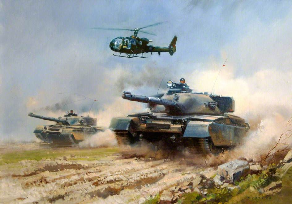 Two 'Chieftain' Tanks and a 'Gazelle' Helicopter Bonding
