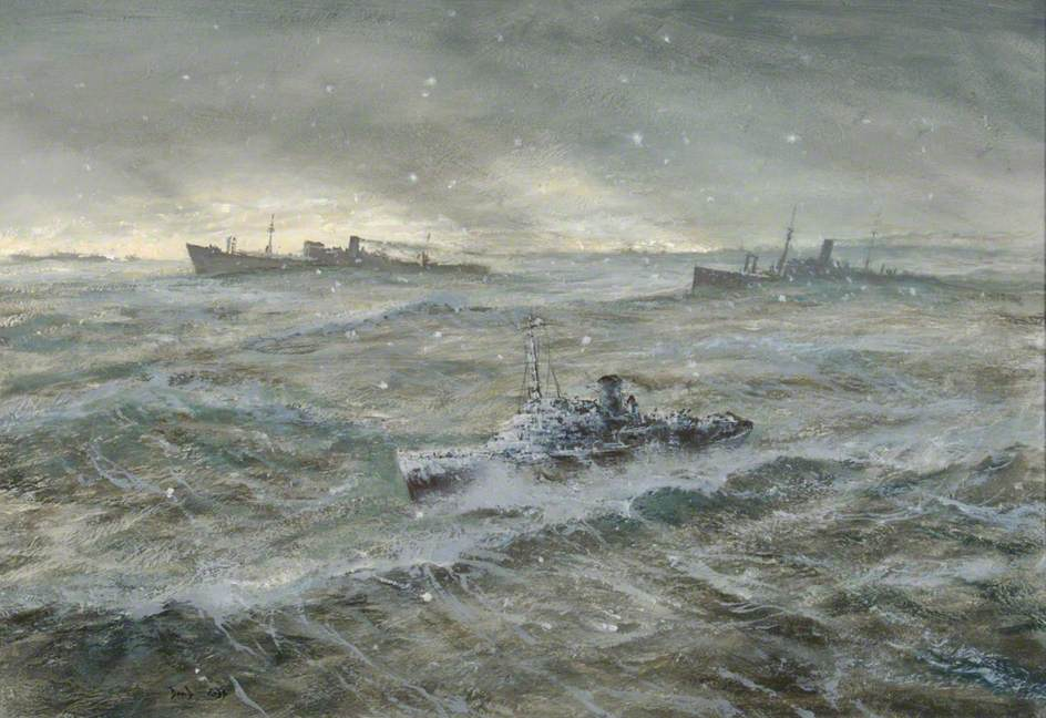 HMS 'Dianthus' and Convoy in Winter Atlantic Gale
