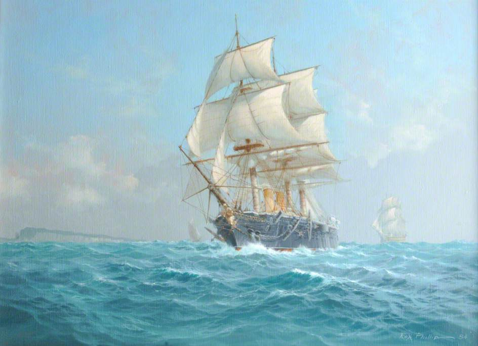 HMS 'Warrior' off the Isle of Wight during Her First Commission