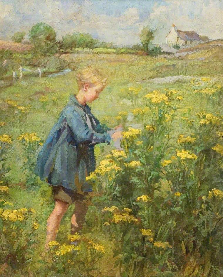 Meadow with Bill Fowler (1914–1977), Picking Flowers